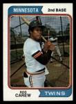 1974 Topps #50  Rod Carew  Front Thumbnail