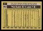 1990 Topps #1  Nolan Ryan  Back Thumbnail