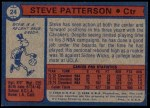 1974 Topps #24  Steve Patterson  Back Thumbnail
