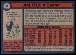 1974 Topps #34  Jim Fox  Back Thumbnail
