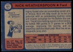 1974 Topps #61  Nick Weatherspoon  Back Thumbnail