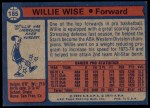 1974 Topps #185  Willie Wise  Back Thumbnail