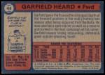1974 Topps #44  Garfield Heard  Back Thumbnail