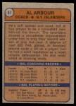 1974 Topps #91  Al Arbour  Back Thumbnail
