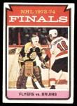 1974 Topps #215   Finals - Flyers vs. Bruins Front Thumbnail