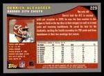2001 Topps #229  Derrick Alexander  Back Thumbnail