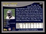 2001 Topps #337  Quincy Carter  Back Thumbnail