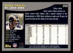 2001 Topps #260  Ricky Proehl  Back Thumbnail