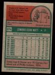 1975 Topps Mini #374  Eddie Watt  Back Thumbnail