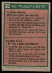 1975 Topps Mini #195   -  Mickey Mantle / Hank Aaron 1957 MVPs Back Thumbnail