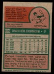 1975 Topps Mini #590  Cesar Cedeno  Back Thumbnail