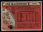 1980 Topps #116  Lyle Blackwood  Back Thumbnail