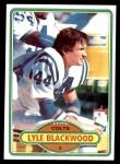 1980 Topps #116  Lyle Blackwood  Front Thumbnail