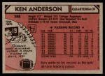 1980 Topps #388  Ken Anderson  Back Thumbnail