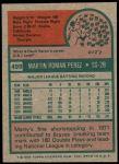 1975 Topps Mini #499  Marty Perez  Back Thumbnail