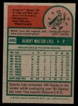 1975 Topps Mini #485  Sparky Lyle  Back Thumbnail