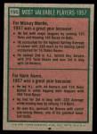 1975 Topps Mini #195   -  Mickey Mantle / Hank Aaron 1957 MVPs Back Thumbnail
