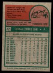 1975 Topps Mini #47  Tommy John  Back Thumbnail