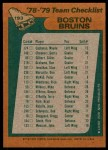 1978 Topps #193   Bruins Team Checklist Back Thumbnail