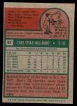 1975 Topps Mini #97  Earl Williams  Back Thumbnail
