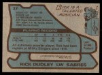 1979 Topps #37  Rick Dudley  Back Thumbnail