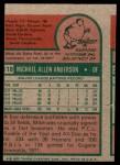 1975 Topps Mini #118  Mike Anderson  Back Thumbnail