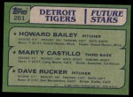 1982 Topps #261   -  Marty Castillo / Howard Bailey / Dave Rucker Tigers Rookies Back Thumbnail