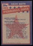 1984 Topps #389   -  Ozzie Smith All-Star Back Thumbnail