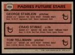 1981 Topps #356   -  Tom Tellmann / Craig Stimac / George Stabein Padres Back Thumbnail