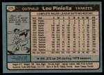 1980 Topps #225  Lou Piniella  Back Thumbnail