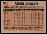 1983 Topps #500  Reggie Jackson  Back Thumbnail
