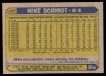 1987 Topps #430  Mike Schmidt  Back Thumbnail