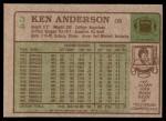 1984 Topps #34  Ken Anderson  Back Thumbnail