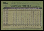 1982 Topps #700  George Foster  Back Thumbnail
