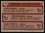 1981 Topps #451   -  Sandy Wihtol  /  Chris Bando  /  Tom Brennan Indians Back Thumbnail