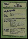 1982 Topps #10   -  Ron Guidry In Action Back Thumbnail