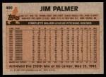 1983 Topps #490  Jim Palmer  Back Thumbnail
