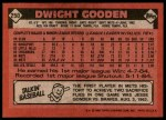 1986 Topps #250  Dwight Gooden  Back Thumbnail
