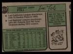 1974 Topps #217  Tim Foli  Back Thumbnail