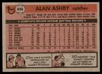 1981 Topps #696  Alan Ashby  Back Thumbnail