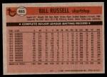1981 Topps #465  Bill Russell  Back Thumbnail