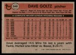 1981 Topps #548  Dave Goltz  Back Thumbnail
