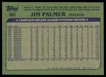 1982 Topps #80  Jim Palmer  Back Thumbnail