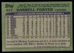 1982 Topps #447  Darrell Porter  Back Thumbnail
