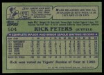 1982 Topps #504  Rick Peters  Back Thumbnail