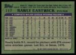 1982 Topps #117  Rawly Eastwick  Back Thumbnail