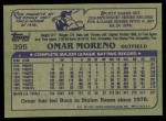 1982 Topps #395  Omar Moreno  Back Thumbnail