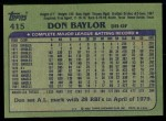 1982 Topps #415  Don Baylor  Back Thumbnail