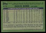 1982 Topps #273  Doug Bird  Back Thumbnail
