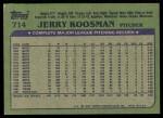 1982 Topps #714  Jerry Koosman  Back Thumbnail